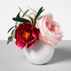 "5.5"" x 4"" Artificial Anemone Arrangement in Ceramic Pot White/Pink  - Opalhouse™"