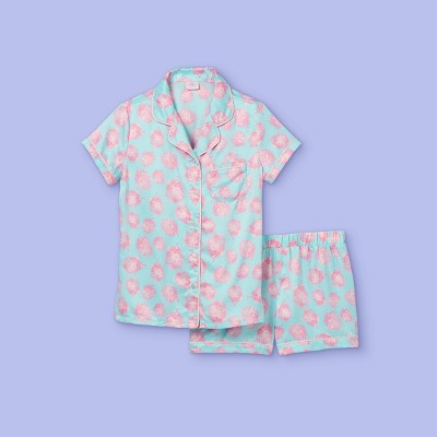 Girls' 2pc Candy Silk Pajama Set - More Than Magic™ Blue