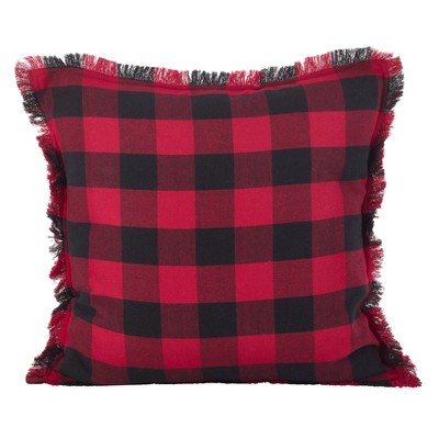 """20"""" Fringed Buffalo Plaid Pillow Down Filled Red - SARO Lifestyle"""