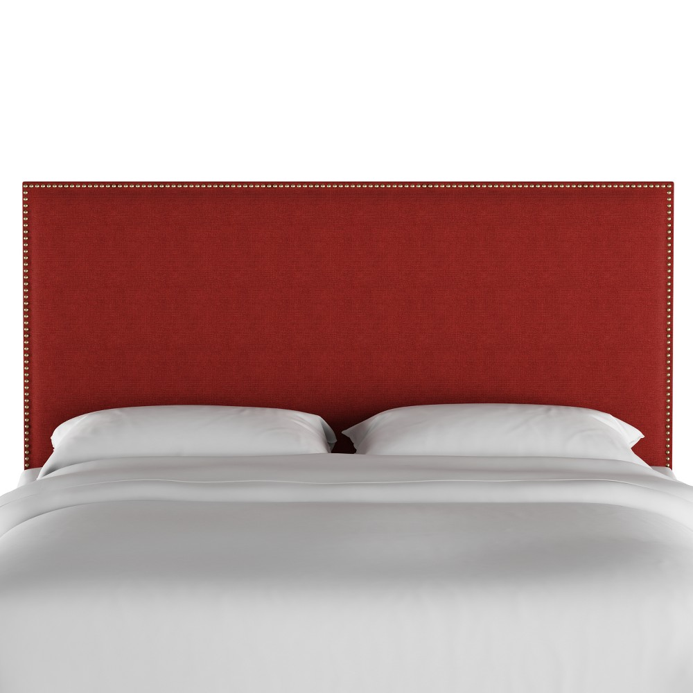 California King Arcadia Nailbutton Headboard Red Linen with Gold Nail Buttons - Skyline Furniture, Red Linen/Gold