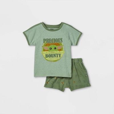 Toddler Boys' Star Wars Baby Yoda 'Precious Bounty' Short Sleeve French Terry Top and Bottom Set - Gray