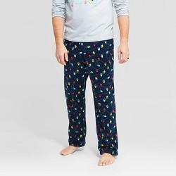 Men's Holiday Twinkly Light Fleece Pajama Pants - Wondershop™ Navy