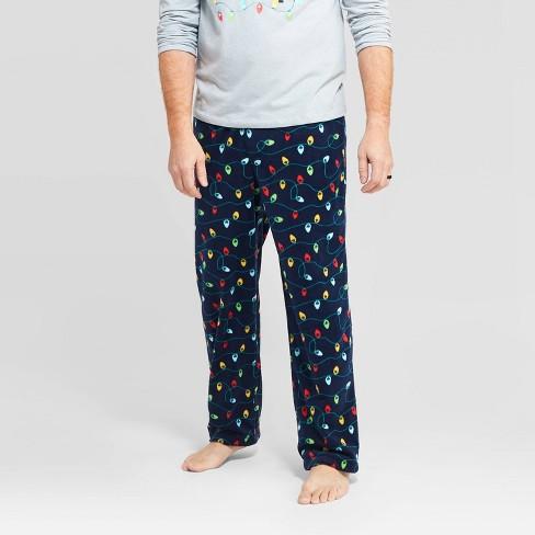Men's Holiday Twinkly Light Fleece Pajama Pants - Wondershop™ Navy - image 1 of 3