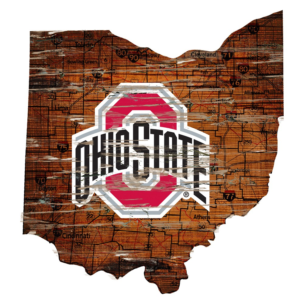 NCAA Ohio State Buckeyes 12 State Map Wood Sign