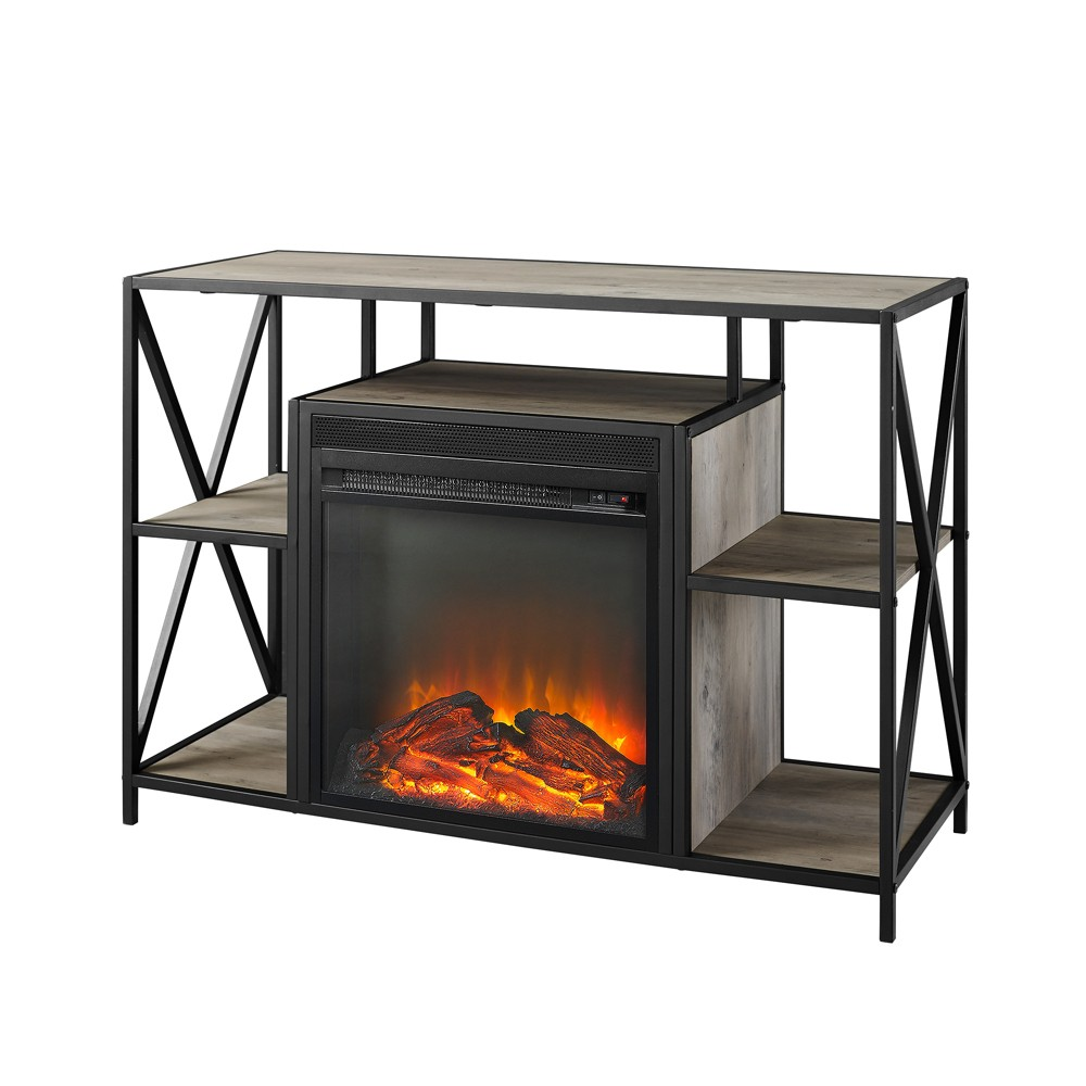 "Image of ""40"""" X Frame Open Shelf Fireplace Gray Wash - Saracina Home, Gray Blue"""