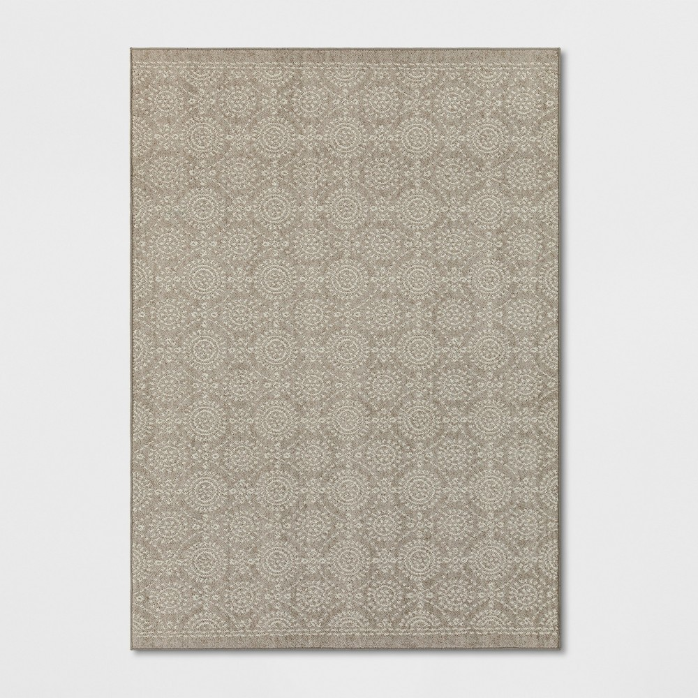 Circle Pattern Tufted Area Rug Beige