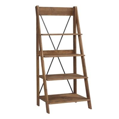 Ivy Boho 4 Tier Solid Wood Ladder Bookshelf Brown - Saracina Home