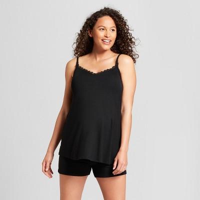 Maternity Nursing Sleepwear Cami and Shorts Pajama Set - Isabel Maternity by Ingrid & Isabel™ Black XS