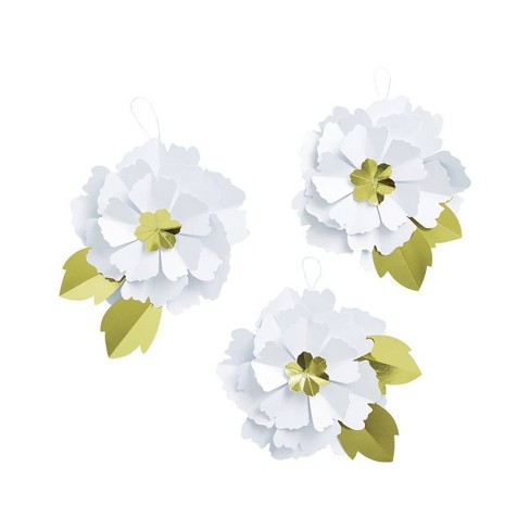 Large Paper Flower White/Gold - Spritz™ - image 1 of 2