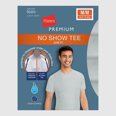 Hanes Premium Men's Slim Fit Crew Neck T-Shirt Undershirt With Wicking FreshIQ