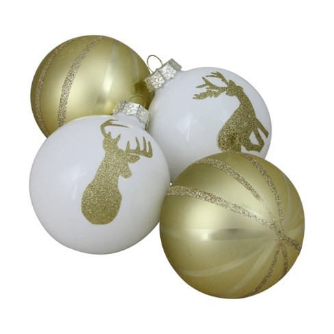 Northlight 4ct Striped Deer Christmas Glass Ball Ornament Set 4 5 Champagne Gold White Target