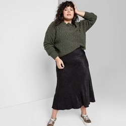 Women's Plus Size Crewneck Cropped Cable Sweater - Wild Fable™ Olive