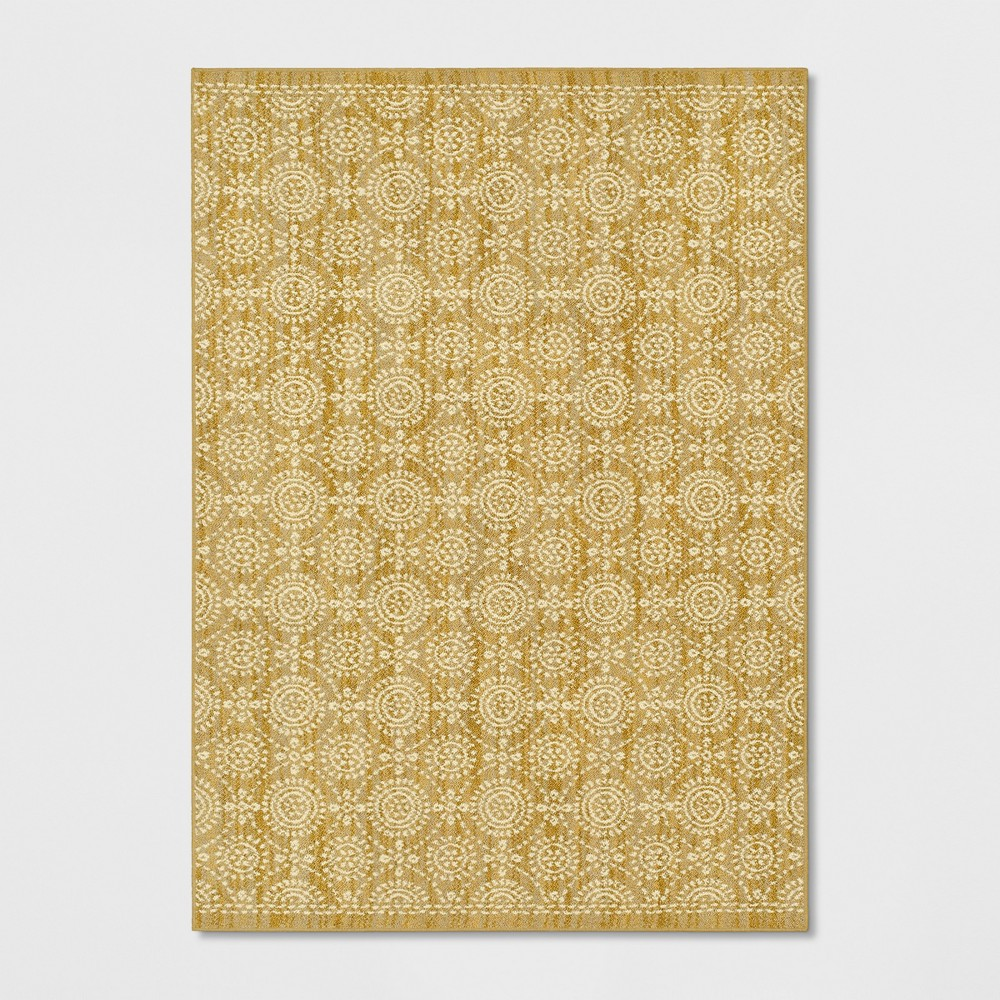 Circle Pattern Tufted Area Rug Gold