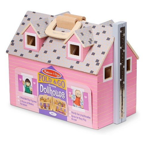Melissa Doug Fold And Go Wooden Dollhouse With 4 Dolls And Wooden