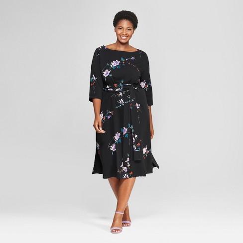 Womens Plus Size Floral Print Midi Knit Dress Ava Viv Black