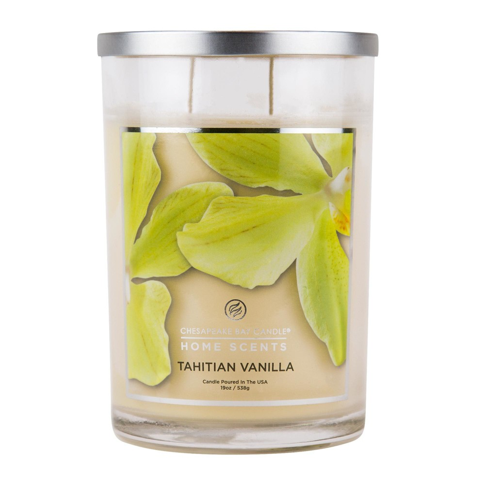 Image of 19oz Pillar 2-Wick Candle Tahitian Vanilla - Home Scents By Chesapeake Bay Candle