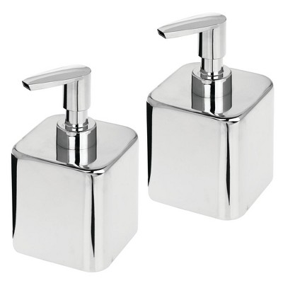 mDesign Compact Square Metal Refillable Soap Dispenser Pump, 2 Pack