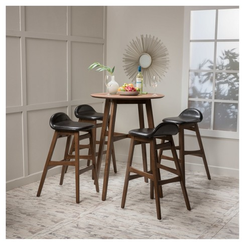 Moria 42 5 Piece Bar Height Dining Set Natural Walnut Dark Brown Leather Christopher Knight Home Target