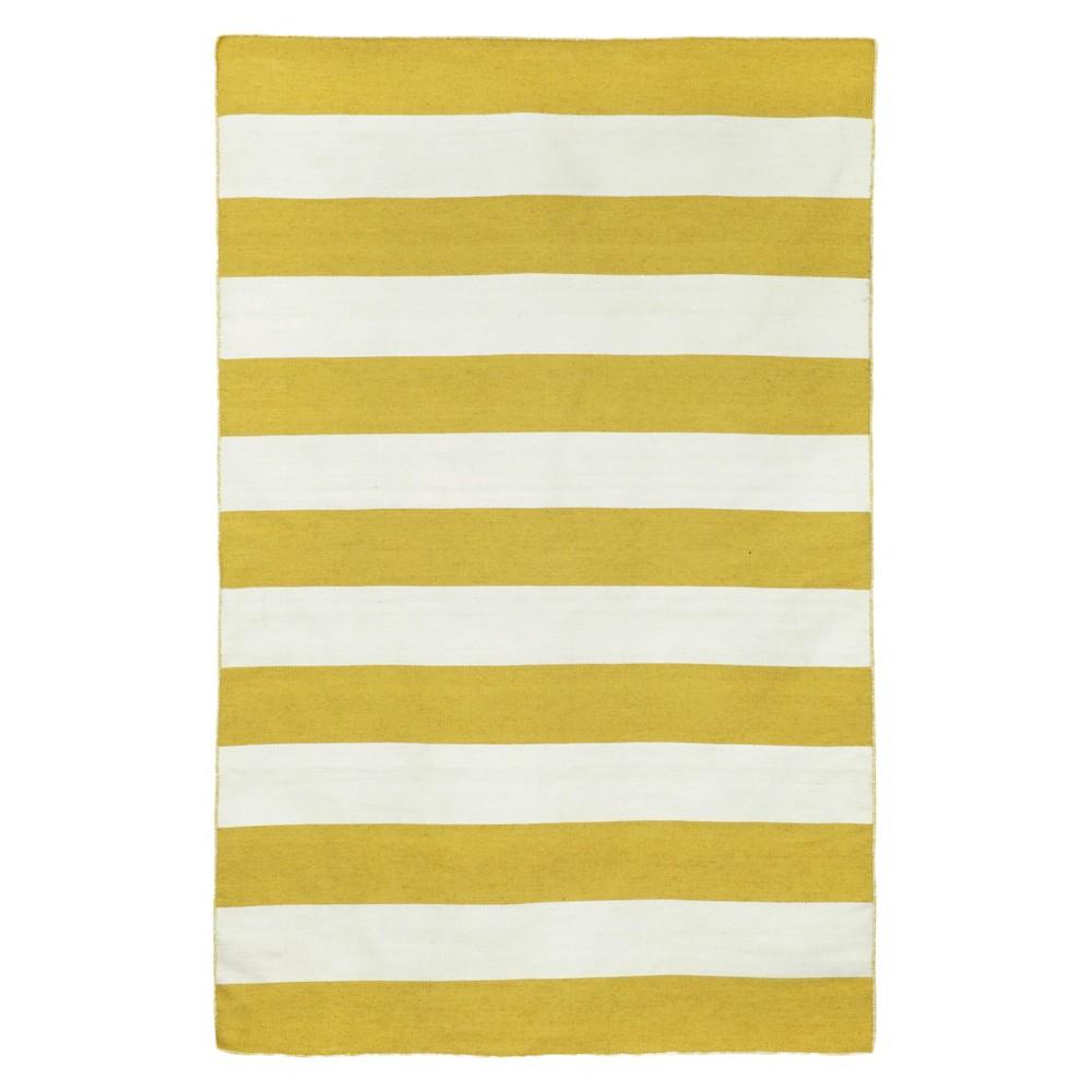 Liora Manne Sorrento Rugby Stripe Indoor/Outdoor Area Rug - Yellow (3'6