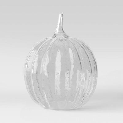 "9.75"" x 8"" Decorative Seeded Glass Pumpkin Figurine - Threshold™"