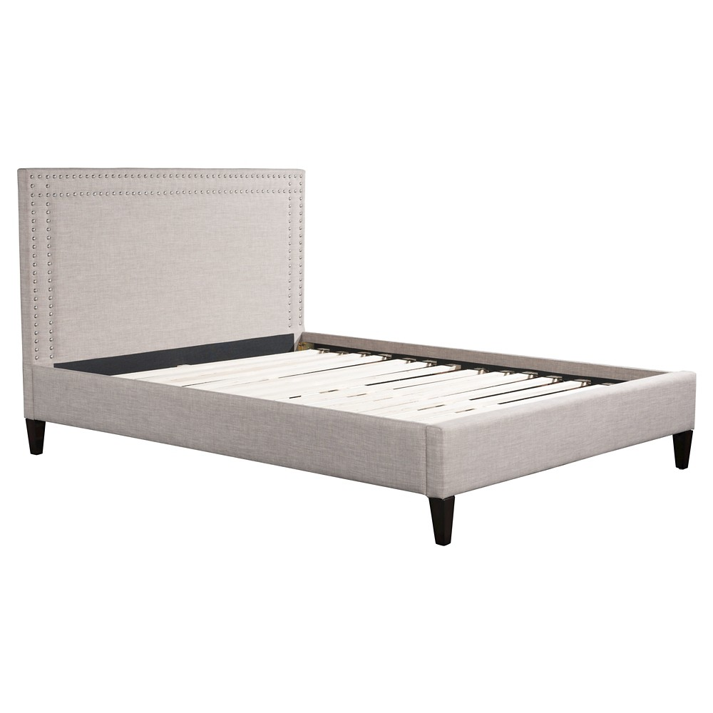 Upholstered Nail Head King Platform Bed - Dove Gray - ZM Home