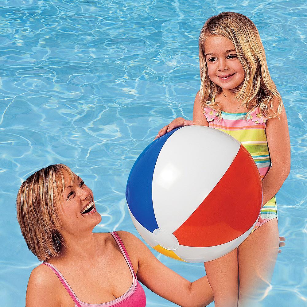 Intex 20 Glossy Panel Inflatable Beach Ball, White