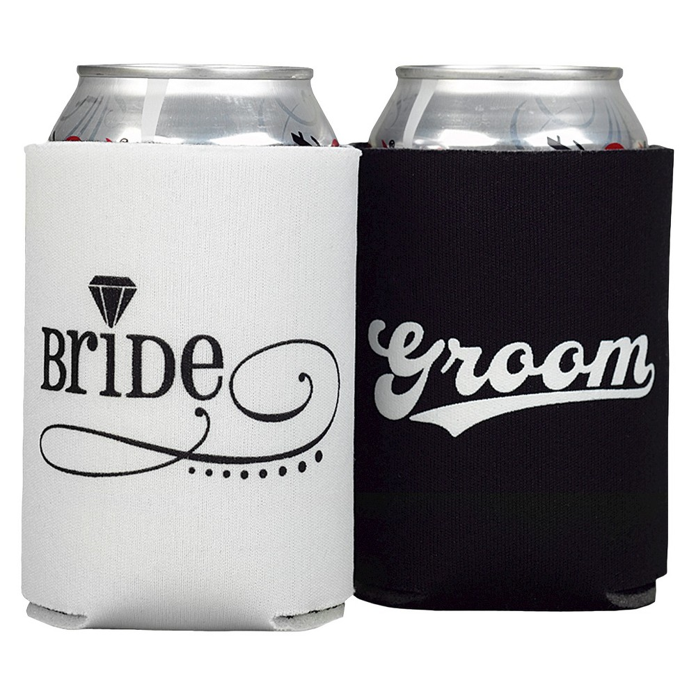 Bride & Groom Can Coolers - Black/White