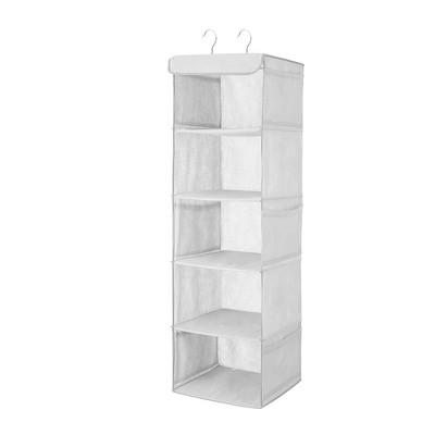 OSTO 5-Shelf Hanging Closet Organizer Closet Shelves with Mesh Pockets; Hanging Shelf for Clothes, Bags, Hats, and More