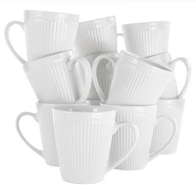 8oz 12pk Porcelain Madeline Mug Set White - Elama