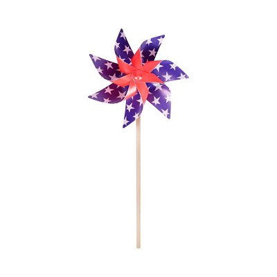 "20"" Pinwheel American Silver Stars Red White Blue - Sun Squad™"