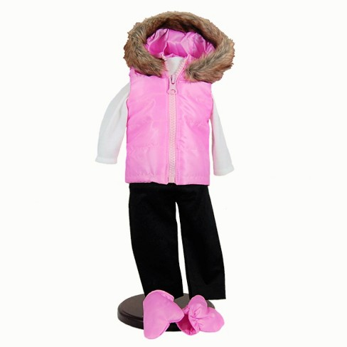 The Queen's Treasures® 18 Inch Doll Clothes Winter Fun Outfit, Pink Hooded Vest, Shirts, Pants, Mittens - image 1 of 6