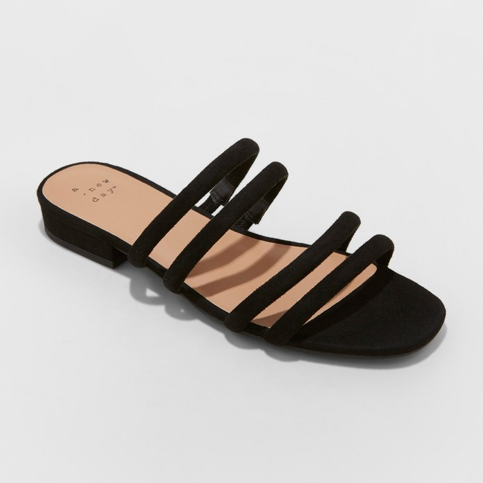 Women's Sophia Strappy Slide Sandals - A New Day™ Black 7 - image 1 of 3