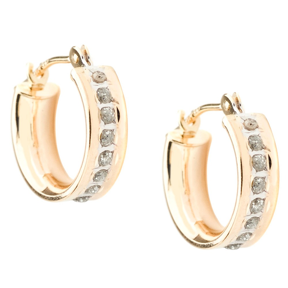 14K Yellow Gold Diamond Accent Round Hoop Earrings - Yellow