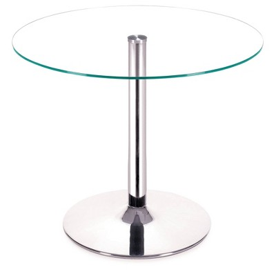 """Modern Tempered Glass and Chromed Steel Tube 39"""" Round Dining Table - Clear - ZM Home"""