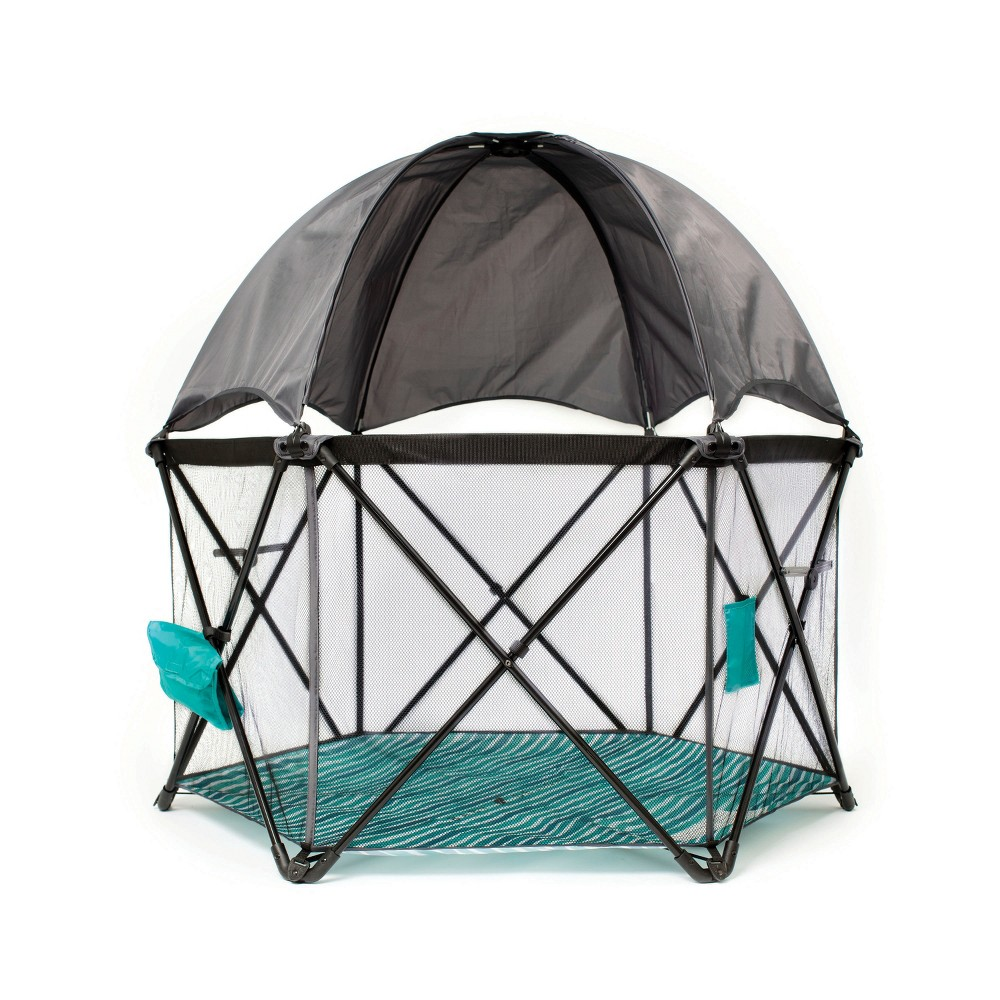 Image of Baby Delight Go With Me Eclipse Portable Playard with Canopy, Green Gray Black