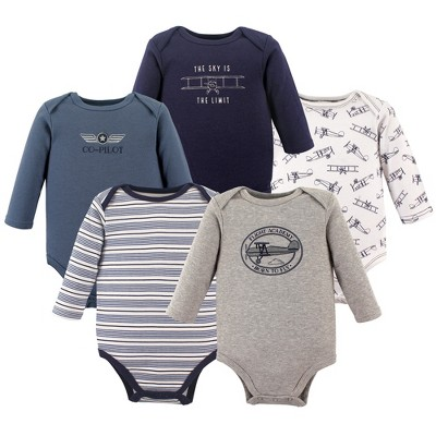 Hudson Baby Boy Long Sleeve Bodysuits 5-Pack Basketball