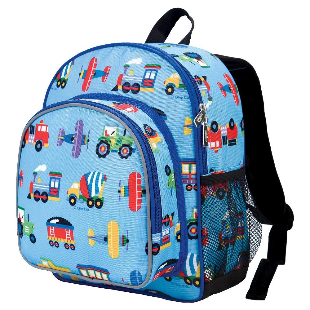 Wildkin Olive Trains-Planes & Trucks Pack 'n Snack Kids' Backpack - Blue Trains/Planes