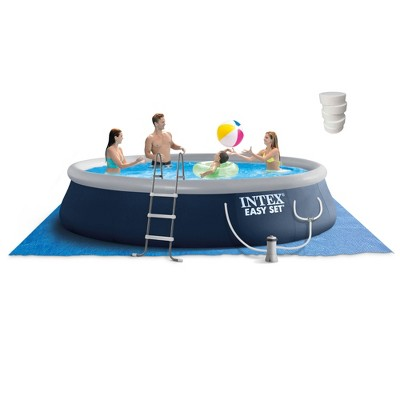 Intex Easy Set 15ft x 42in Inflatable Outdoor Above Ground Swimming Pool Bundle with Filter Pump & Pool Care 3-Inch Chlorine Tablets, 5 Pounds
