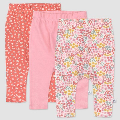 Honest Baby Girls' 3pk Organic Cotton Meadow Floral Cuff-Less Harem Pull-On Pants - Pink 0-3M