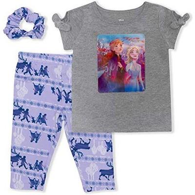 Disney Girl's 3-Pack Spark Frozen II Anna and Elsa Graphic Tee, Capri Leggings and Hair Scrunchie for Kids