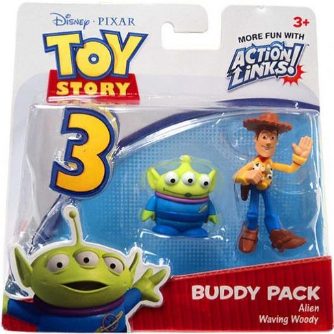 Toy Story 3 Action Links Buddy Pack Alien and Waving Woody Mini Figure 2-Pack - image 1 of 1