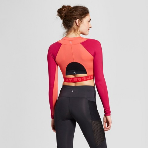 c58d2553735bf6 Women's Color Block Long Sleeve Crop Top - JoyLab™ : Target
