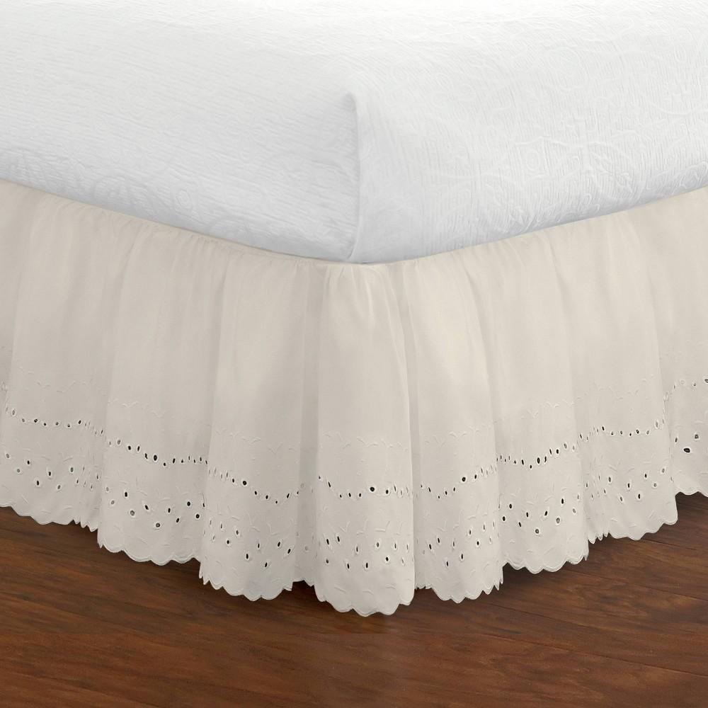 Image of Fresh Ideas California King Ruffled Eyelet Bed Skirt Ivory