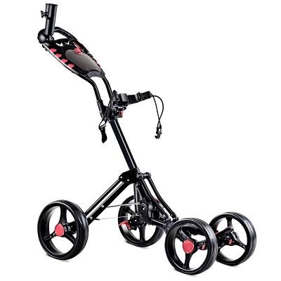 Costway Folding 4 Wheel Golf Pull Push Cart Trolley Club Umbrella Scorecard Drink Holder