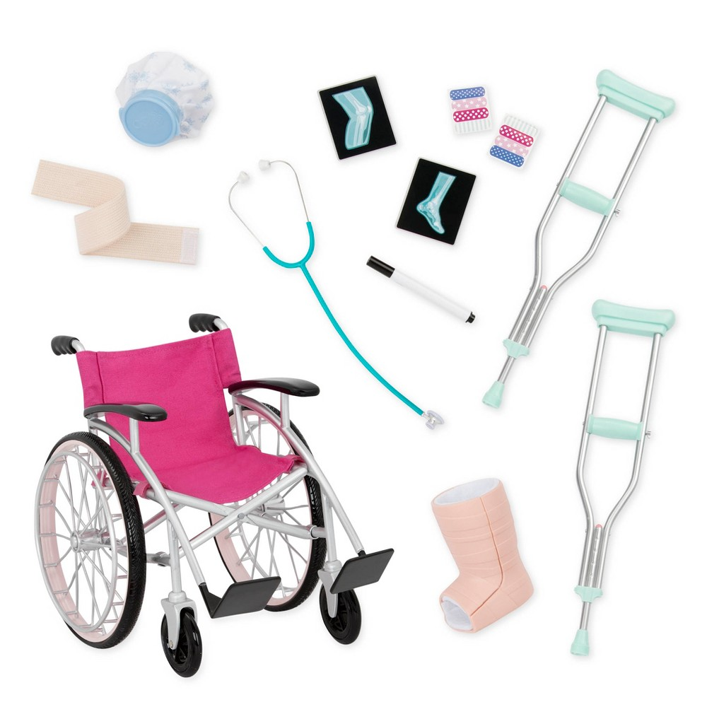 Our Generation Heals on Wheels - Wheelchair Accessory Set for 18 Dolls