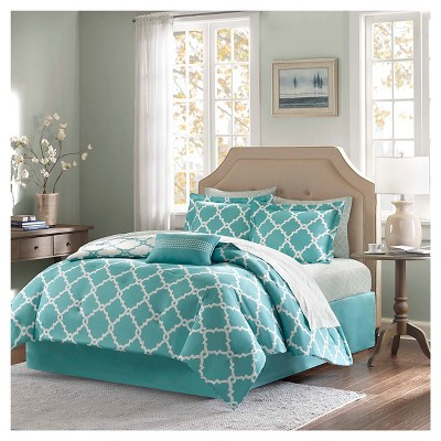 Aqua Becker Complete Multiple Piece Comforter and Sheet Set (King)- 9 Piece
