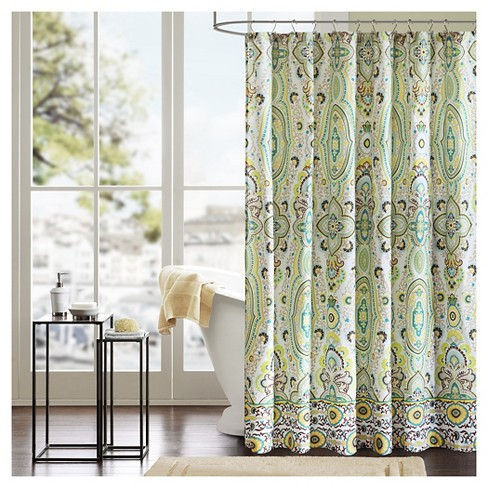 Heather 100 Microfiber Printed Shower Curtain Green