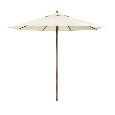9' x 9' Round Wood Grain Steel Patio Umbrella - Astella