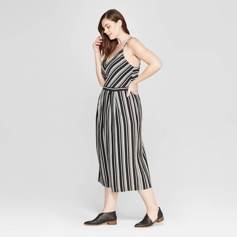 946cdd164650 Women s Plus Size Striped Sleeveless V-Neck Knit Jumpsuit - Universal Thread™  Black   Target