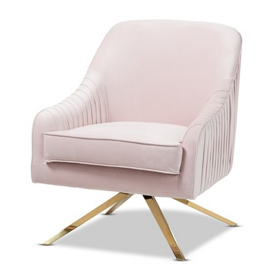 Amaya Velvet Lounge Chair Light Pink/Gold   Baxton Studio
